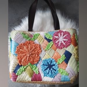 Red Fish Designs Colorful Straw Bag Purse